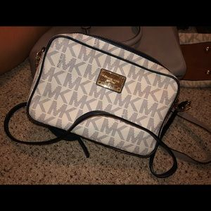 blue & white authentic monogram mk crossbody